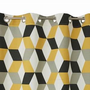 Rideau Jaune Et Gris : rideau bernau 3d jaune 140 x 240 cm castorama ~ Teatrodelosmanantiales.com Idées de Décoration