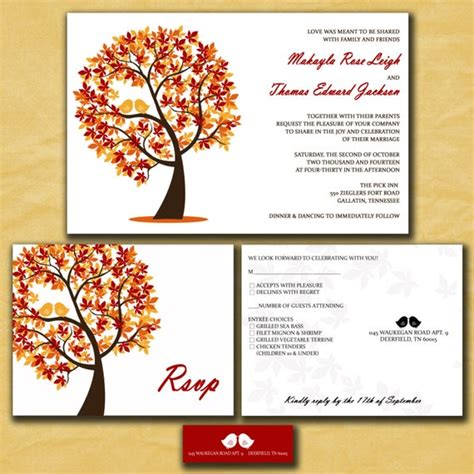 Fall Wedding Invitations Autumn Wedding Love Birds in a