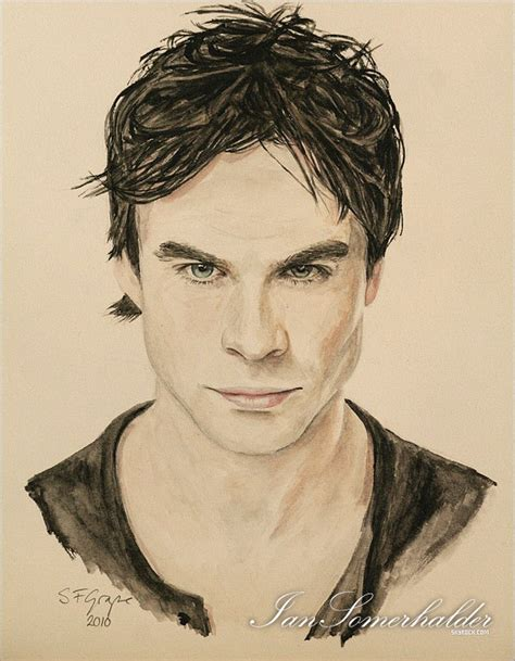 Create a portrait by drawing with paper, pencil, and picture. Damon Salvatore portrait | Vampire, Vampire diares, Damen