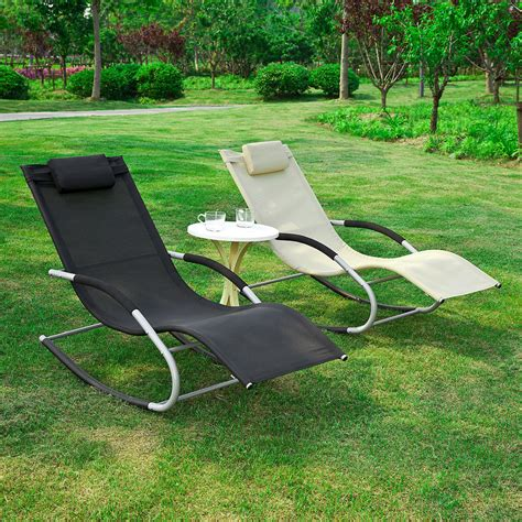 sobuy 174 garden rocking deck chair sun lounger with footrest