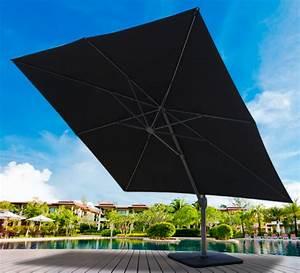 Parasol Déporté Aluminium : parasol d port 3 5m carr noir rotatif aluminium 289 salon d 39 t ~ Teatrodelosmanantiales.com Idées de Décoration