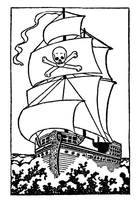 pirate ship outline   clip art