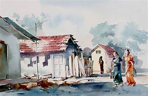 Village Scene by artist GN Madhu – Impressionism, Painting ...