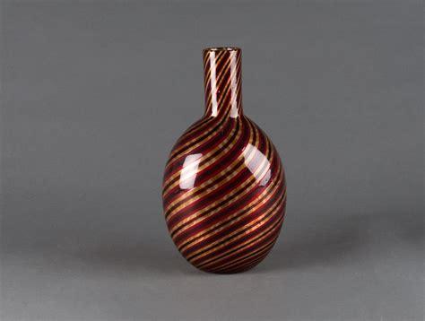 Burgundy Glass Vase by Gold Burgundy Striped Glass Vase Soubrier Rent Deco