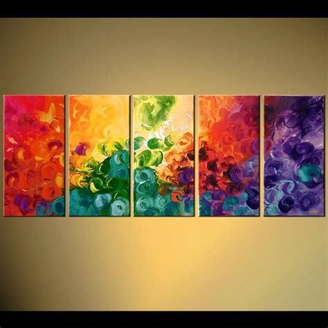 Painting - multi panel bold colorful abstract sun #5771