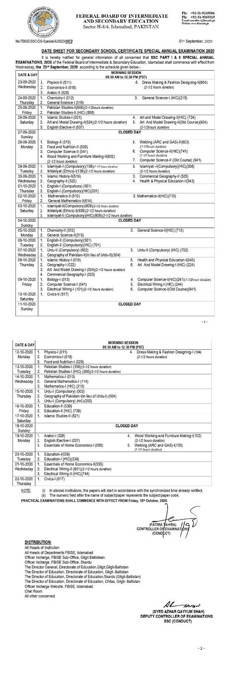 Fbise SSC Part I & II Special Examination 2020 Date Sheet ...