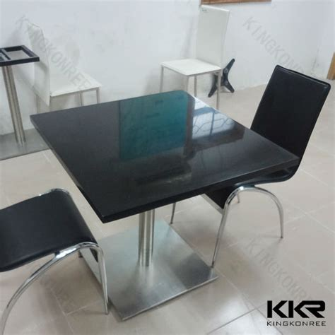 polished black marble dining table top coffee shop