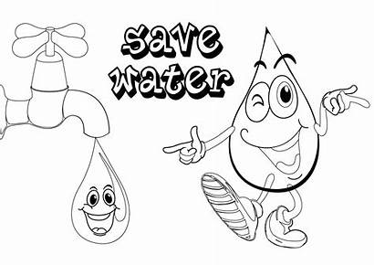 Water Coloring Save Drawing Pages Conservation Poster