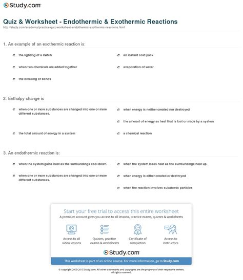 quiz worksheet endothermic exothermic reactions