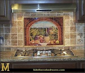 Wall mural stickers tuscan themed kitchen accessories for Best brand of paint for kitchen cabinets with italian ceramic wall art