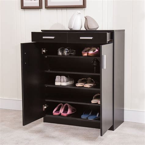 Entryway Storage Cabinet by 5 Shelf Shoe Rack 2 Drawers Entryway Stand Organizer