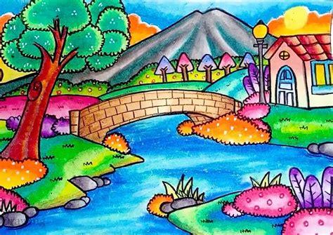 33 kumpulan gambar pemandangan gunung dengan pensil warna