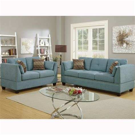 Sofa Set For Home by Venetian Worldwide Abruzzo 2 Hydra Blue Velvet Sofa