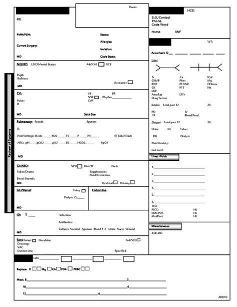 icu nurse report sheet template nurse pinterest home