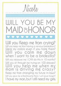 will you be my maid of honor one day pinterest With will you be my maid of honor letter