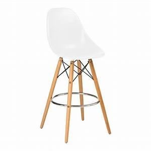 Chaise Blanche Pied Bois : chaise haute de bar design blanche pied en bois et assise abs achat vente tabouret de bar ~ Teatrodelosmanantiales.com Idées de Décoration