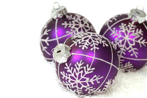 purple christmas ornaments photograph