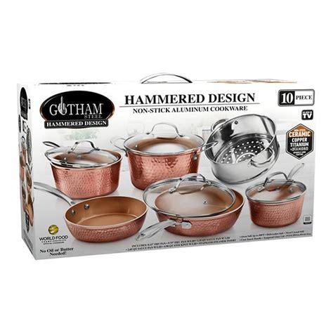 gotham steel hammered copper  pc cookware set    tv