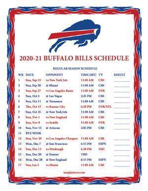 printable   buffalo bills schedule