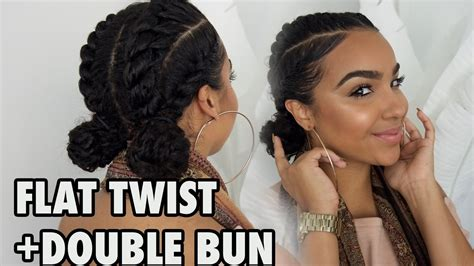 For Work + School + Gym Flat Twists With Bun Hairstyle