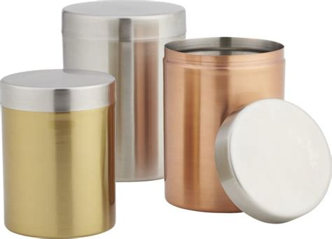 kitchen jars and canisters 3 piece mixed metal canister set modern kitchen canisters and jars by cb2