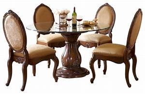Lavelle Melange 5-Piece Round Glass Top Dining Table Set