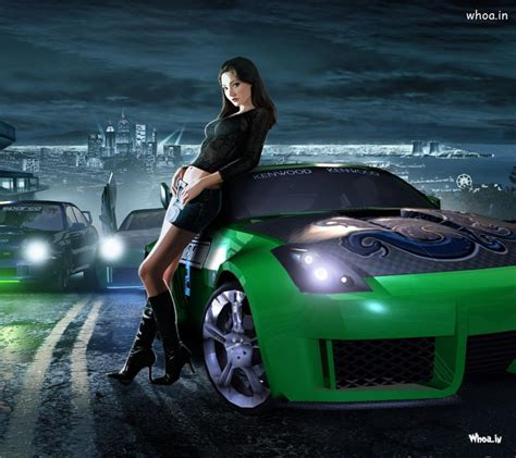 green spots car  girls hd wallpaper
