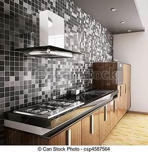 Küche Holz Modern : stock foto von modern ebenholz holz kueche inneneinrichtung 3d csp4587564 suchen sie ~ Sanjose-hotels-ca.com Haus und Dekorationen