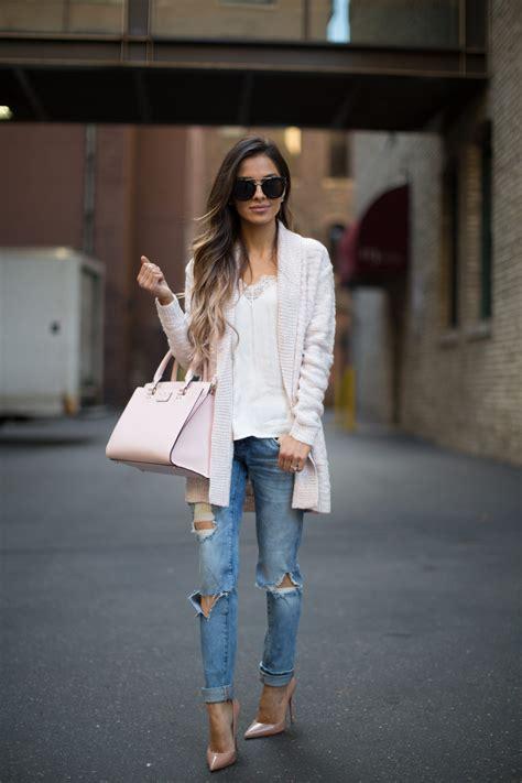 pink cardigan ripped jeans mia mia