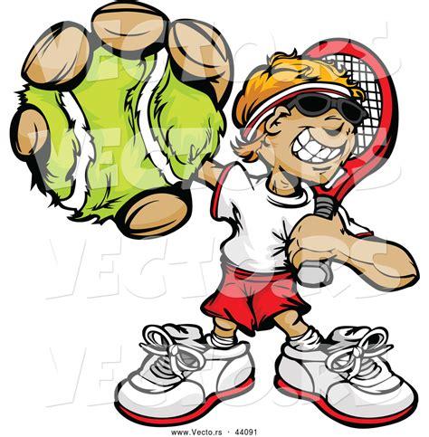 vector   smiling cartoon tennis player boy holding   ball  chromaco