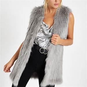 Manteau Fourrure Sans Manche : manteau sans manches en fausse fourrure gris gris femme ~ Dallasstarsshop.com Idées de Décoration