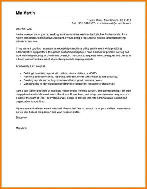 Assistant Cover Letter by Administrative Assistant Cover Letter Template Business