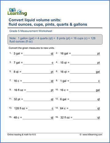 grade 5 math worksheet measurement convert liquid