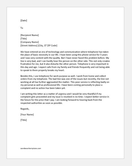 complaint letter  poor service  telephone word