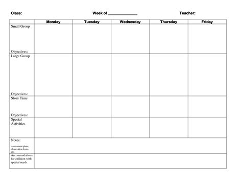best photos of blank lesson plan template for preschool 505 | blank weekly lesson plan form 377557