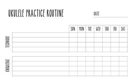 Ukulele Practice Routine Worksheet