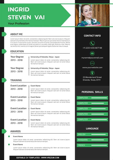 Great resume examples leave room for improvement. (EDITABLE) - FREE CV Templates For First Job | VREZUM