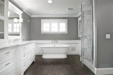 Gray Plank Tile Bathroom Wood Plank Tile Bathroom Contemporary With Bathroom Mirror