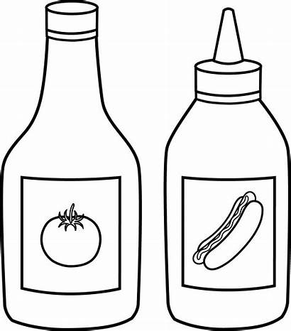 Ketchup Mustard Line Clip Outline Sweetclipart