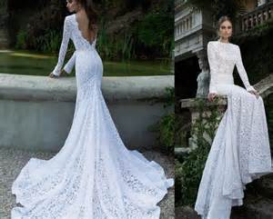 cheap wedding dresses with sleeves 2016 berta lace backless wedding dresses with sleeves crew neck court bridal gowns