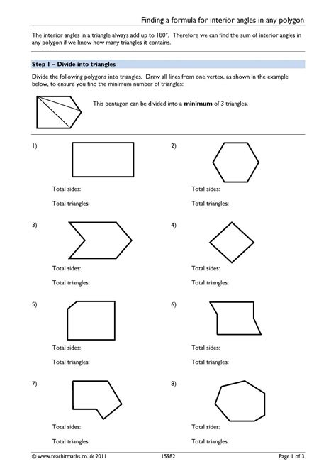finding  formula  interior angles   polygon