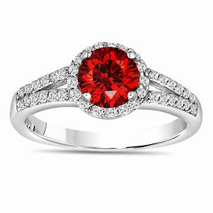 100 carat fancy red diamond engagement ring 14k white With red diamond wedding ring