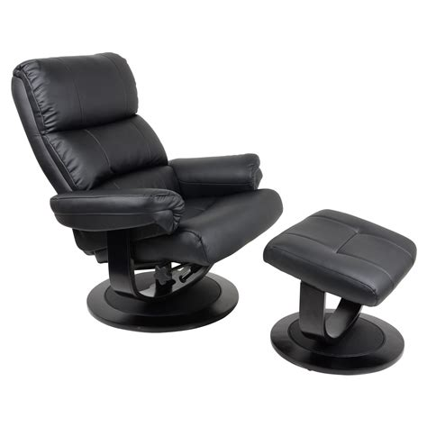 Armchair With Stool by Luxury Black Faux Leather Relaxer Chair Recliner 360