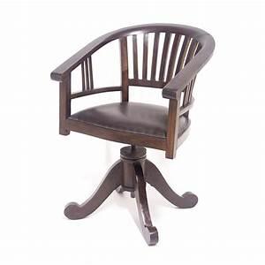 Fauteuil Cuir Bureau : fauteuil de bureau tournant en teck et cuir style colonial ~ Teatrodelosmanantiales.com Idées de Décoration