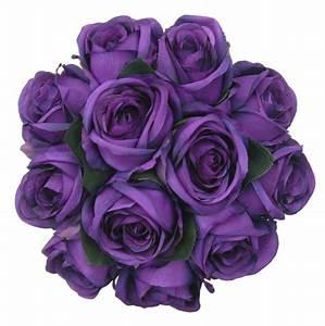 Brides Purple Silk Rose Wedding Posy Bouquet - Sarah's Flowers