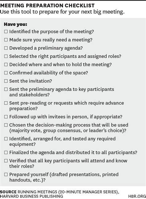 checklist  planning   big meeting meeting