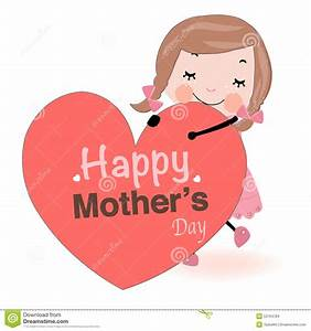 Mother's Day Card Cute Girl Holding Heart Vector Stock ...