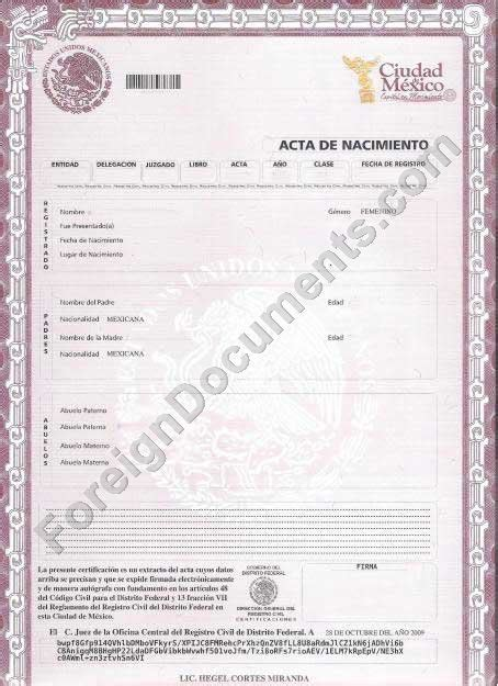 mexican birth certificate translation