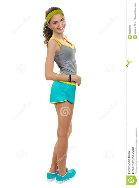 Sports Girl In Shorts And A T Shirt Stock Image Image