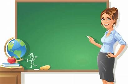 Teacher Clipart Blackboard Female Pointing Woman Cliparts